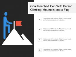 Goal Reached Icon With Person Climbing Mountain And A Flag