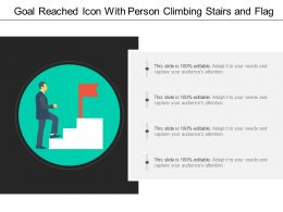 Goal Reached Icon With Person Climbing Stairs And Flag