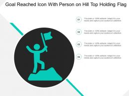 Goal Reached Icon With Person On Hill Top Holding Flag