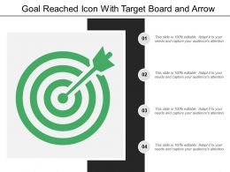 Goal Reached Icon With Target Board And Arrow
