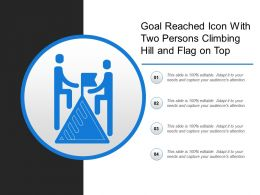 Goal Reached Icon With Two Persons Climbing Hill And Flag On Top