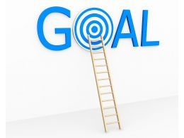 Goal With Target And Ladder Stock Photo