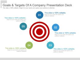 Goals And Targets Of A Company Presentation Deck