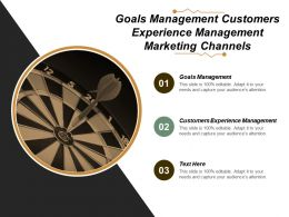Goals Management Customers Experience Management Marketing Channels Cpb