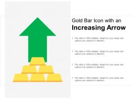 Gold Bar Icon With An Increasing Arrow