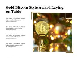 Gold Bitcoin Style Award Laying On Table