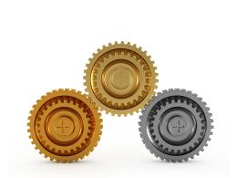 Gold Bronze And Silver Gears Showing Concept Of Winners Awards Stock Photo