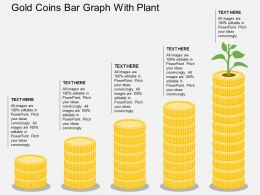 Gold Coins Bar Graph With Plant Flat Powerpoint Design