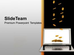Gold Coins Falling On Laptop Finance PowerPoint Templates PPT Themes And Graphics 0113