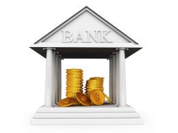 Gold Coins In Bank Safe Related To Finance Stock Photo