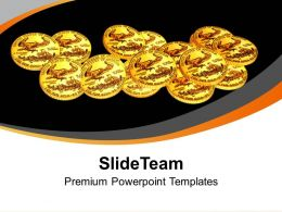 Gold Coins Scattered On Black Background Powerpoint Templates PPT Themes And Graphics 0213
