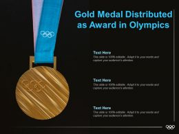 Gold Medal Distributed As Award In Olympics