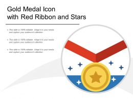 Gold Medal Icon With Red Ribbon And Stars