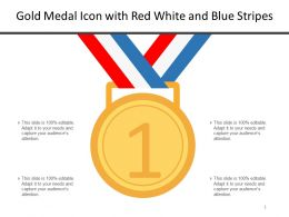 Gold Medal Icon With Red White And Blue Stripes