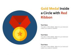 Gold Medal Inside A Circle With Red Ribbon