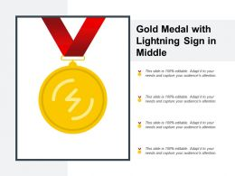 Gold Medal With Lightning Sign In Middle
