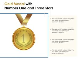 Gold Medal With Number One And Three Stars