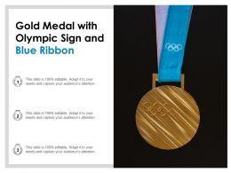 Gold Medal With Olympic Sign And Blue Ribbon