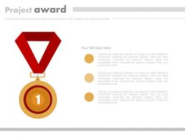 Gold Medal With Project Award Success Powerpoint Slides