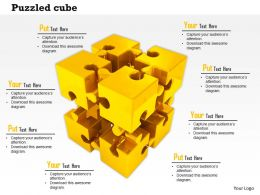 Gold Puzzle Pieces Together As Cube