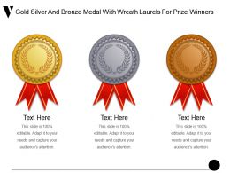 Gold Silver And Bronze Medal With Wreath Laurels For Prize Winners Ppt Icon