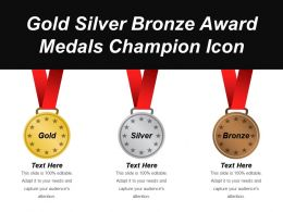 Gold Silver Bronze Award Medals Champion Icon