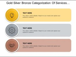Gold Silver Bronze Categorization Of Services With Associated Icon
