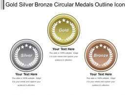 Gold Silver Bronze Circular Medals Outline Icon