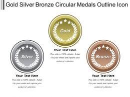 Gold Silver Bronze Circular Medals Outline Icon
