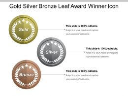 Gold Silver Bronze Leaf Award Winner Icon