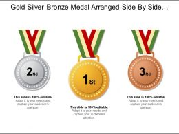 Gold Silver Bronze Medal Arranged Side By Side For Different Categories