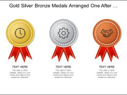 Gold Silver Bronze Medals Arranged One After Another For Distinct Categories