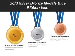 Gold Silver Bronze Medals Blue Ribbon Icon