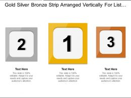 Gold Silver Bronze Strip Arranged Vertically For List Of Services Offered
