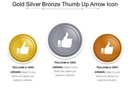 Gold Silver Bronze Thumb Up Arrow Icon