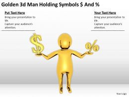 Golden 3D Man Holding Symbols Dollar And Percent Ppt Graphics Icons PowerPoint