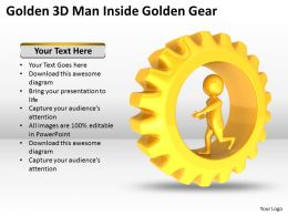 Golden 3D Man Inside Golden Gear Ppt Graphics Icons Powerpoint