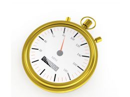 Golden Analog Clock For Time Display Stock Photo