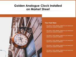 Golden Analogue Clock Installed On Market Street