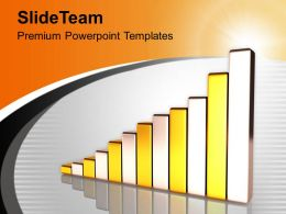 Golden And Silver Bar Graph Growth PowerPoint Templates PPT Themes And Graphics 0213