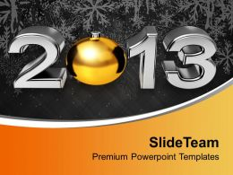 Golden Ball New Year 2013 PowerPoint Templates PPT Themes And Graphics 0113