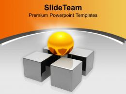 Golden Ball On Pieces Of 4 Dice Powerpoint Templates Ppt Themes And Graphics 0313