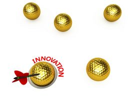 Golden Balls With Arrow Hitting Target Of Innovation Stock Photo