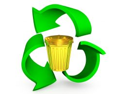 Golden Bin With Recycle Symbol Stock Photo