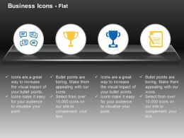 Golden Blue Trophy Report Formation Talking Bubbles Ppt Icons Graphics