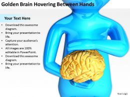Golden Brain Hovering Between Hands Ppt Graphics Icons PowerPoint