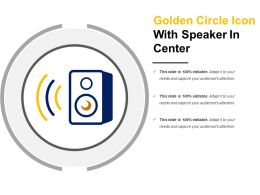 Golden Circle Icon With Speaker In Center