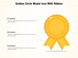 Golden Circle Medal Icon With Ribbon