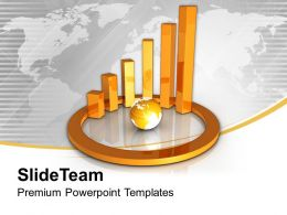 Golden Circular Bar Graph With Globe Powerpoint Templates Ppt Themes And Graphics 0313