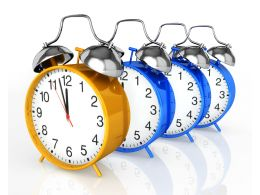 Golden Clock Leading Blue Clocks Show Leadership Stock Photo